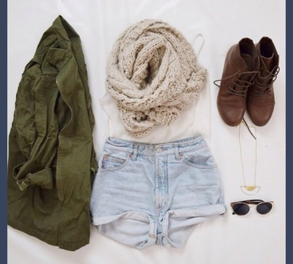 jacket army green scarf