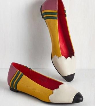 shoes pencil print ballet flats flats multicolor
