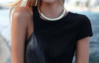 dress top little black dress leather elegant classy classic black jewels