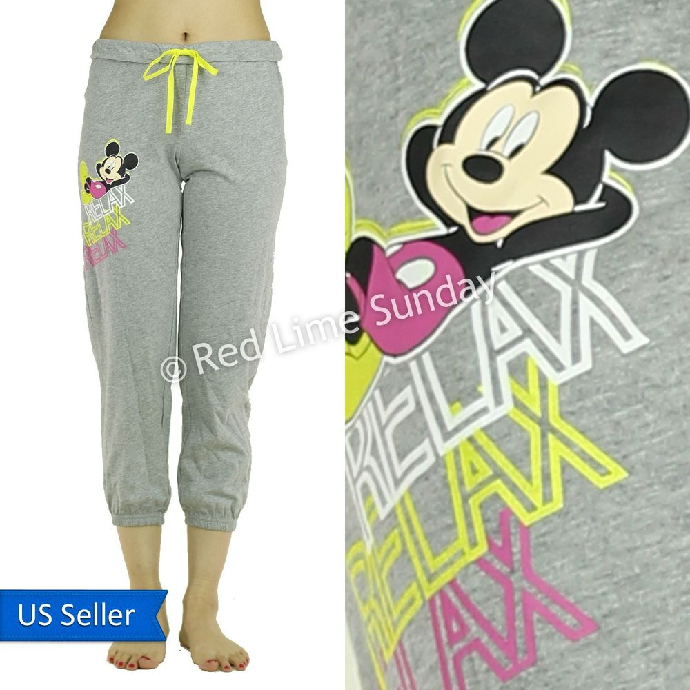 Disney mickey mouse relax cotton pj room wear casual pants bottoms drawstring