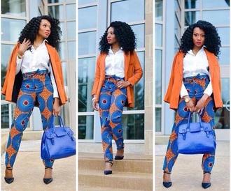 pants orange blue tribal african print