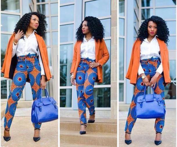 pants orange blue tribal pattern african print