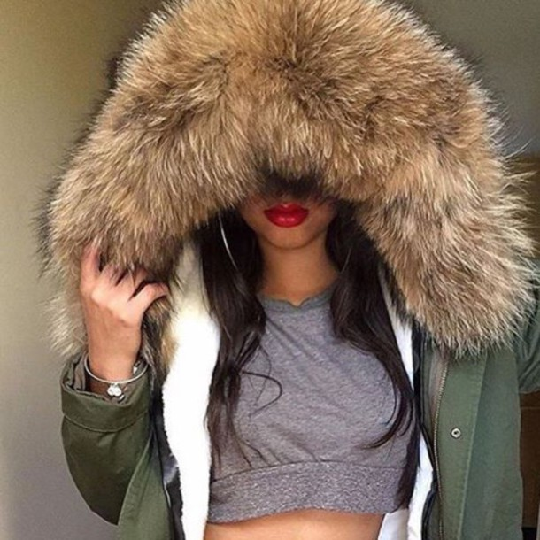 Coat: outfit made, fur, fur coat, parka, khaki, khaki parka, fur ...