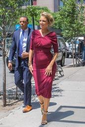 dress,midi dress,bodycon dress,maternity dress,maternity,blake lively,sandals,burgundy,burgundy dress