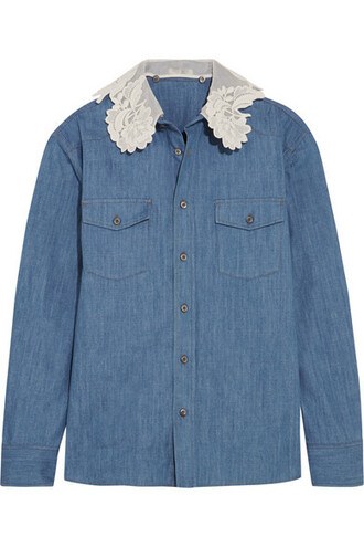 shirt denim shirt denim lace silk top