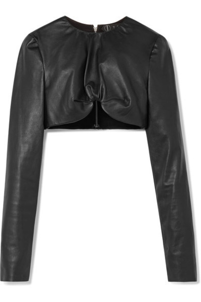 Tre top leather top cropped leather black