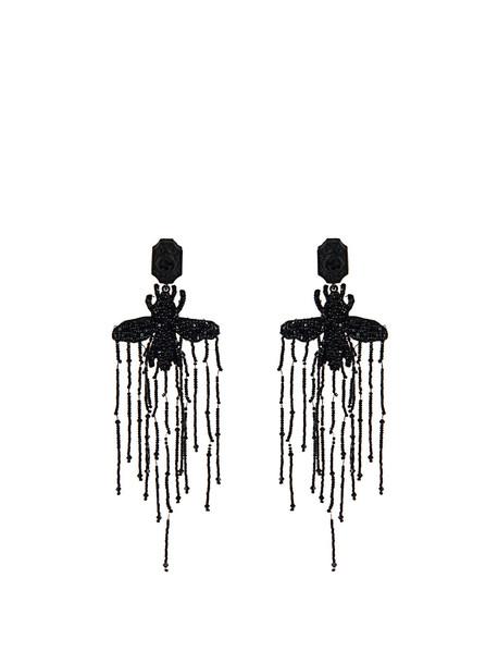 embellished bee earrings black jewels