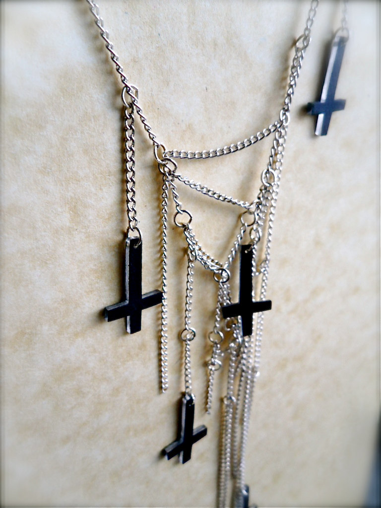multi strand tiny dark inverted upside down cross charm necklace silver chain - Mixed Materials