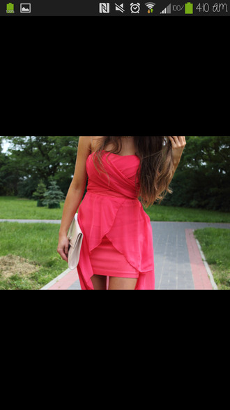 dress hot pink chiffon dress high-low dresses strapless dress