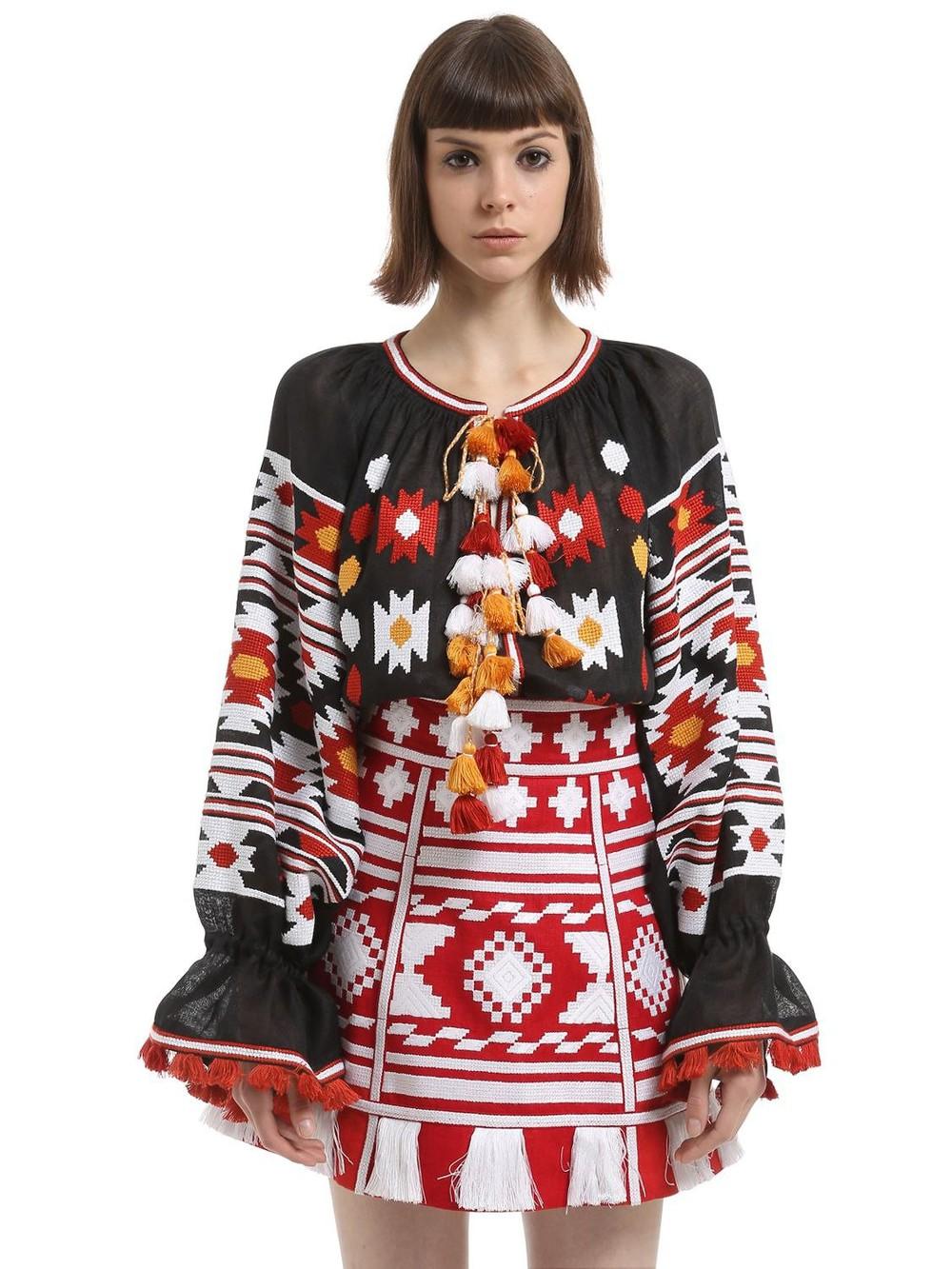 VITA KIN Kilim Embroidered Linen Blouse in black