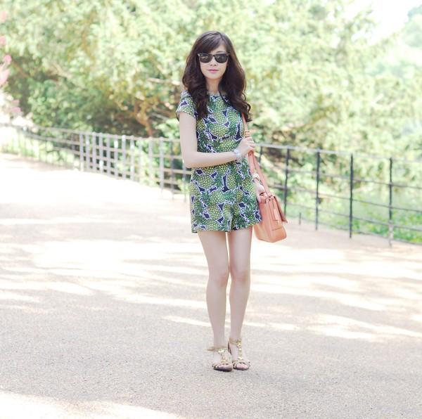temporary secretary romper bag jewels sunglasses shoes pineapple print leather bag rayban