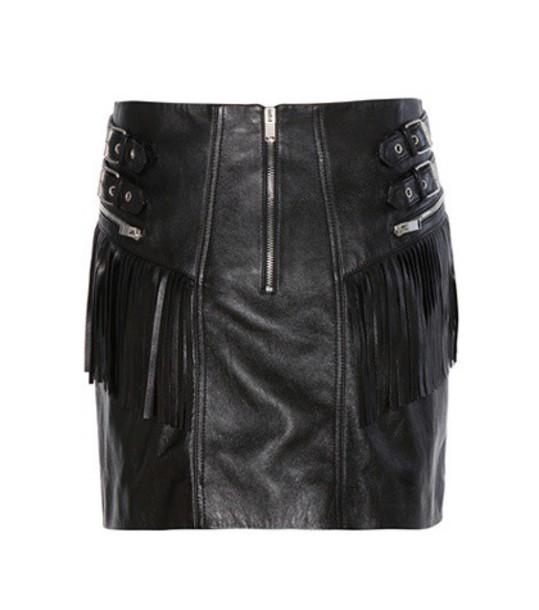 Saint Laurent skirt mini skirt mini leather black