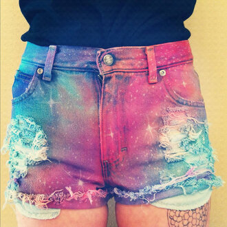 shorts galaxy galaxy shorts tumblr hipster pink blue red ripped shorts ripped dyed shorts tie dye highwaisted shorts high waisted galaxy print print denim shorts