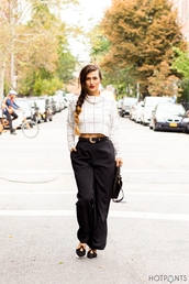 do the hotpants,blogger,bag,wide-leg pants,checkered,white top,make-up,top,pants,belt,shoes