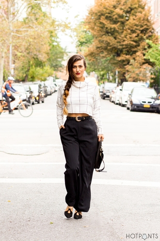 do the hotpants blogger bag wide-leg pants checkered white top