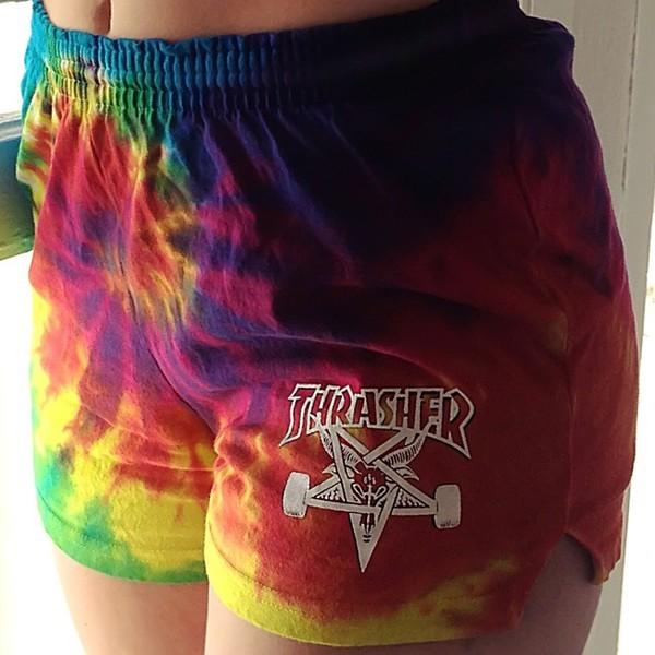 shorts thrasher tie dye