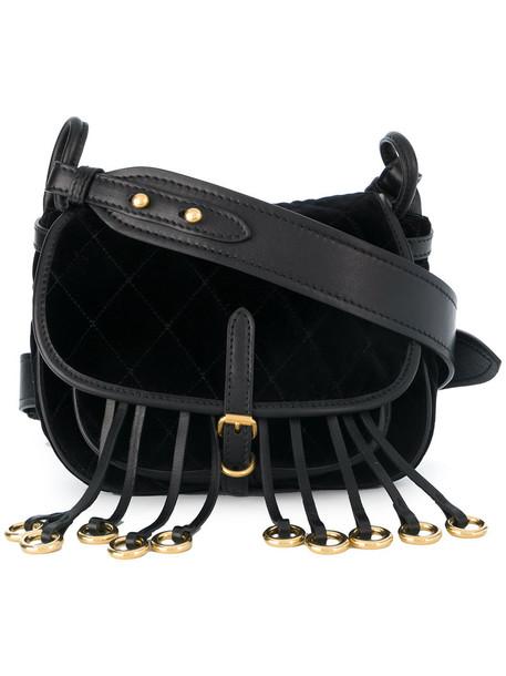 Prada women quilted bag shoulder bag leather black velvet