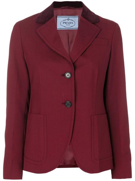 Prada jacket women leather cotton silk wool velvet red