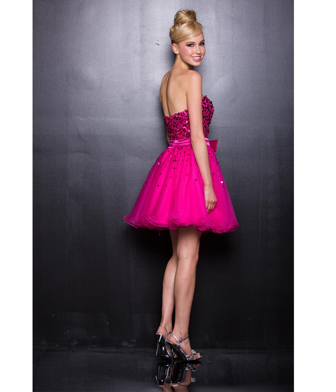 2013 Prom Dresses - Pink One Shoulder Tulle Short Prom Dress ...