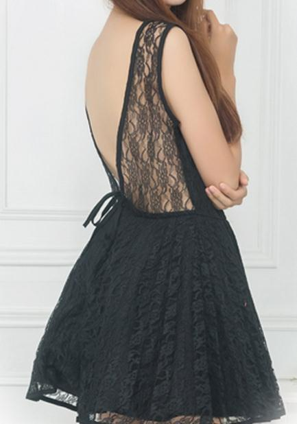 Deep v lace sexy lace dress