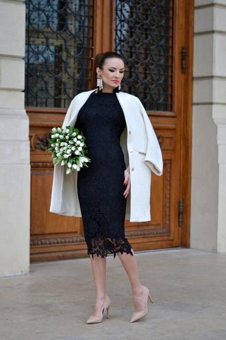 my silk fairytale blogger coat lace dress bodycon dress white coat pencil dress