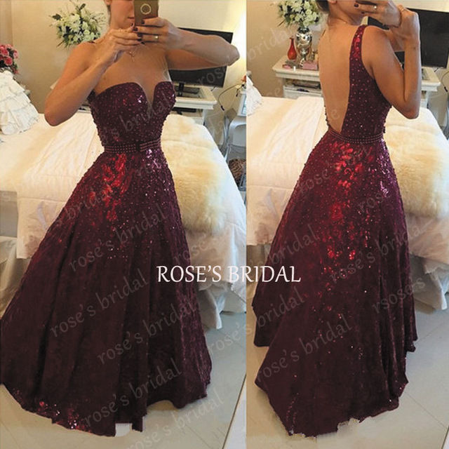 A Line Sequined Burgundy Prom Dress Glitter Sparkly Floor Length