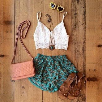 shorts print lace top lace top sandlas bag pink bag hipster heart suglasses necklace indie coachella fashion drop top loose shorts brown white blue pink sunflowers sunflower sunglasses yellow heart sunglasses sunglasses shoes