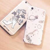 phone cover,yeah bunny,iphone,space,transparent,stars,science,iphone cover,iphone case