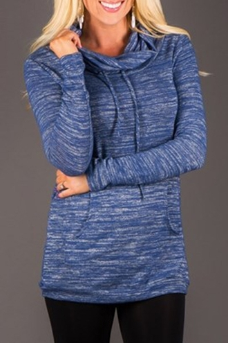 sweater fashion style blue hoodie casual sporty jumper long sleeves