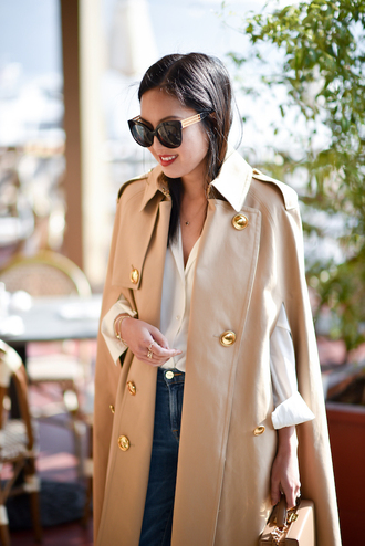 coat tumblr camel camel coat cape trench coat shirt white shirt sunglasses cat eye black sunnies kendall jenner workout office outfits jeans denim blue jeans blogger french girl style