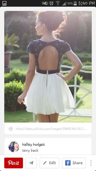 dress backless dress black and white dress zipperback holiday dress