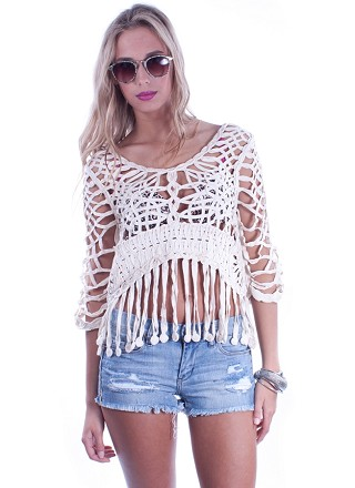 Tan fringe coverup top with