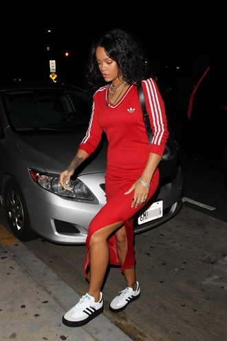dress rihanna adidas red summer sporty adidas superstars adidas originals