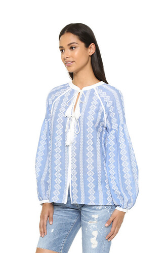 blouse blue peasant top blue peasant top white and blue top oversized long sleeves
