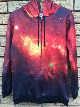 sweater zipup sweatshirt hoodie purple galaxy print stars red pink pastel zip-up