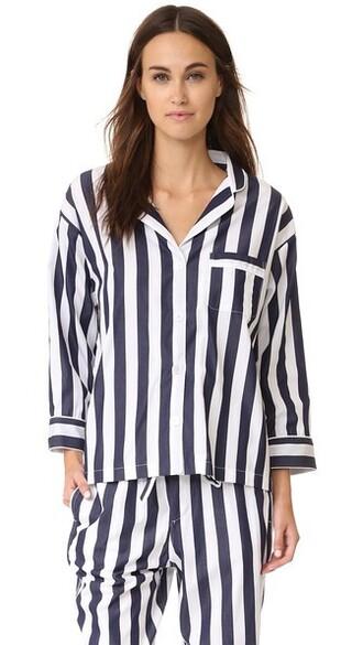 shirt navy white top
