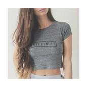 shirt,grey,killin it,t-shirt,crop tops,short,black,long hair,top