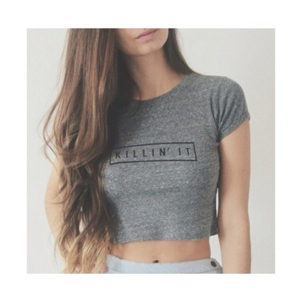 shirt grey killin it t-shirt crop tops killin it short black grey long hair crop tops top