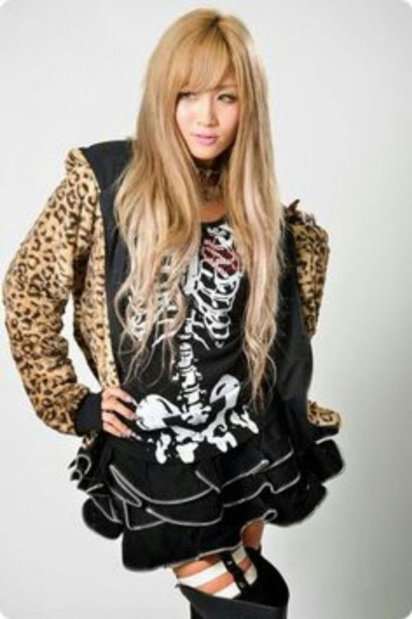 dress leopard print gyaru rokku gyaru skull black skull top skirt japanese fashion