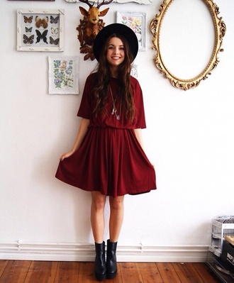 shoes boots indie girl red dress black hat black boots indie dress burgundy felt hat