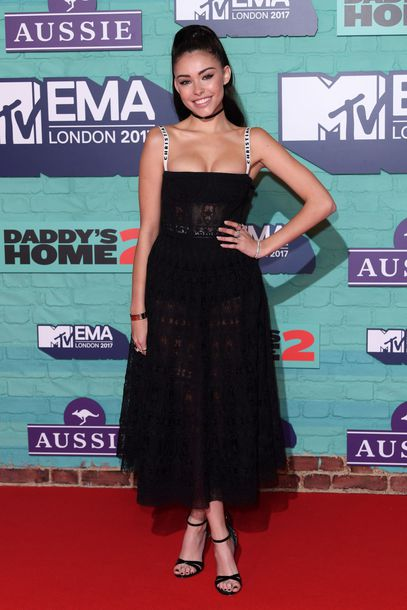 shoes midi dress black dress madison beer mtv ema awards bustier dress lace dress