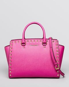Authentic Michael Kors Selma Stud Large Satchel Pink Fuschia Gold | eBay