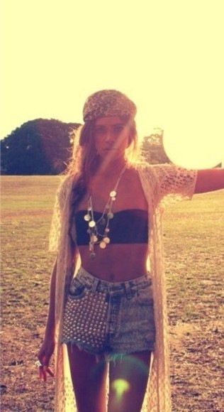 jewels hat sweater hippie indie knitted cardigan headband tank top jewellery shorts