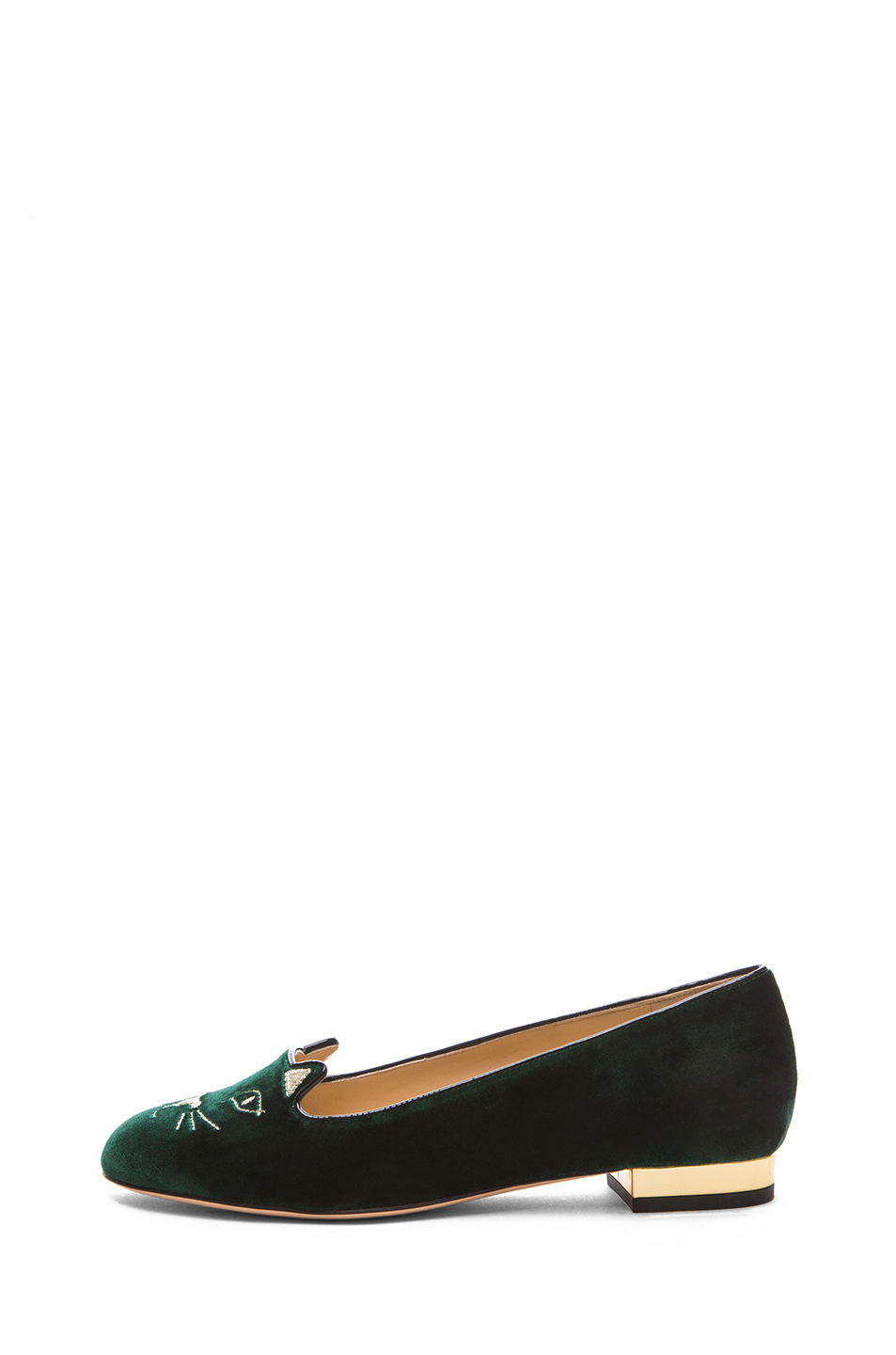 Charlotte Olympia | Kitty Flats in Green & Gold Suede