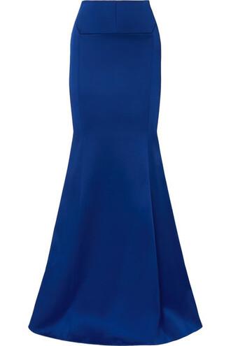 skirt maxi skirt maxi blue satin cobalt blue