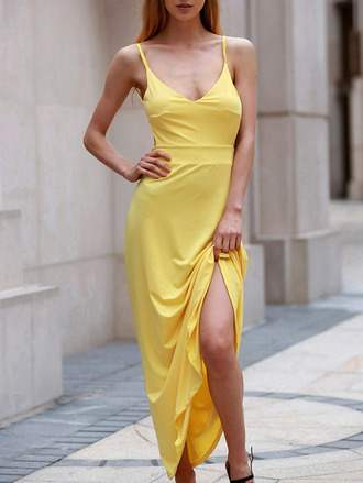 dress yellow fashion style summer maxi dress spring dressfo