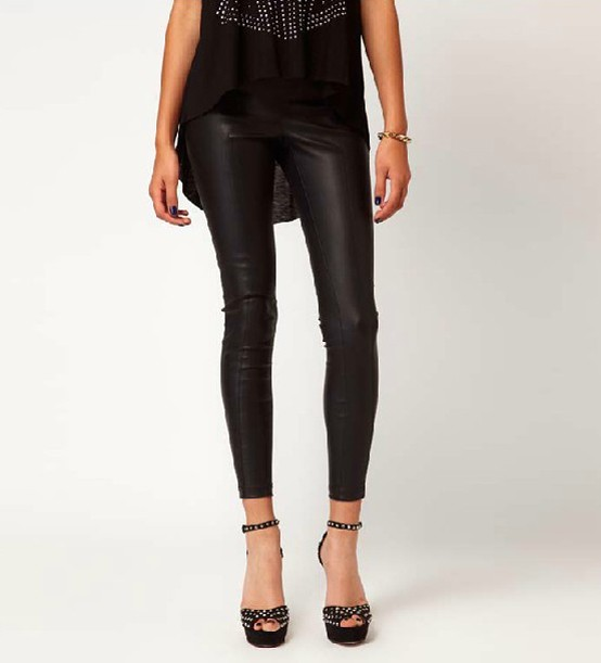 Cool PantsampLeggings  Black SeeThrough Mesh Spliced Leggings  Gamiss
