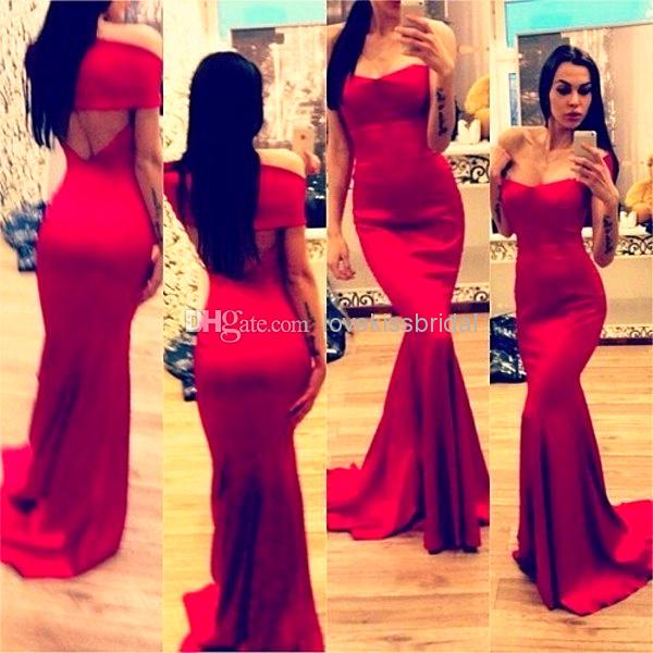 2015 Sexy Line Red Mermaid Evening Dresses Off Shoulder Simple ...
