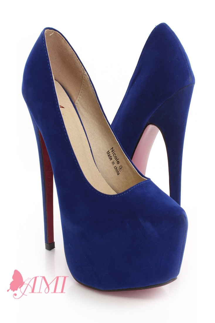 Royal Blue Faux Suede Pink Bottom Sexy Pump Heels  Heel Shoes online store sales:Stiletto Heel Shoes,High Heel Pumps,Womens High Heel Shoes,Prom Shoes,Summer Shoes,Spring Shoes,Spool Heel,Womens Dress Shoes,Prom Heels,Prom Pumps,High Heel San