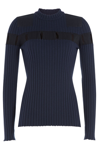 pullover cut-out wool blue sweater